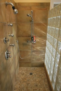 Inside the Glass Block Shower