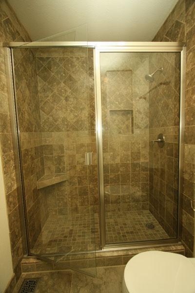 Tiled shower enclosure